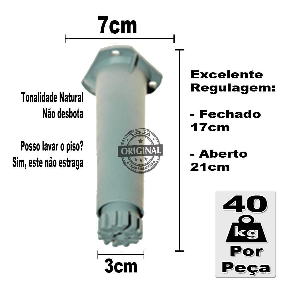 Kit 6 Peças - Pé Cinza Para Móveis Itatiaia De Com Regulagem 17 a 21 cm Genérico