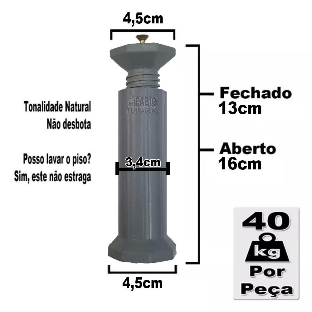 Kit 8 Peças - Pé Roma Para Armário / Gabinete Cinza Com Regulagem De 13 a 16cm