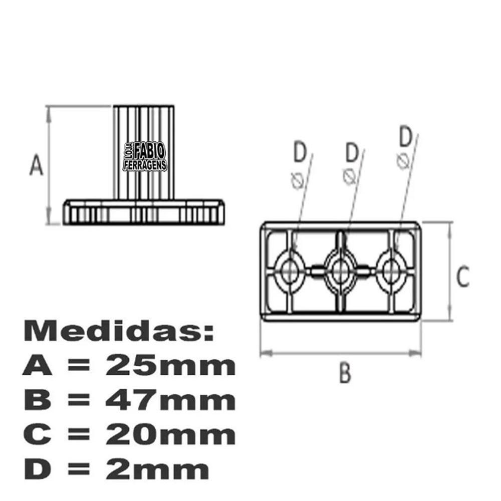 Kit Com 10 Peças - Distanciador Preto Para Corrediça De 25mm