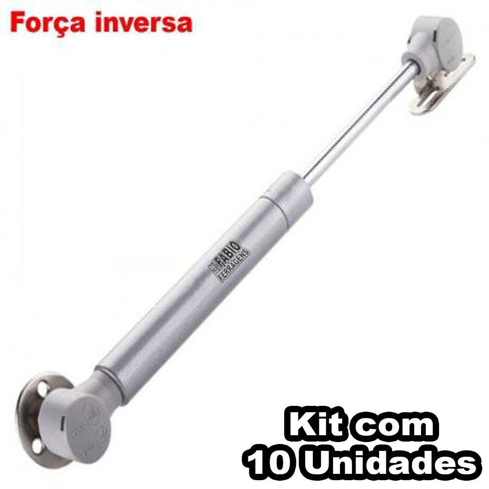 Kit Com 10 Peças - Pistão A Gás Para Armário Com Abertura Para Baixo Orignal De 80N ou 8 Kilos (Força Inversa)
