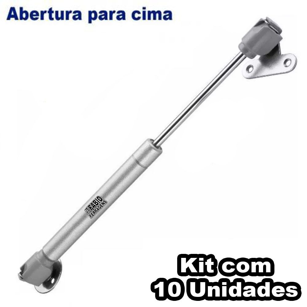 Kit Com 10 Peças - Pistão A Gás Para Móveis Armário De Cozinha 150N ou 15 Kilos
