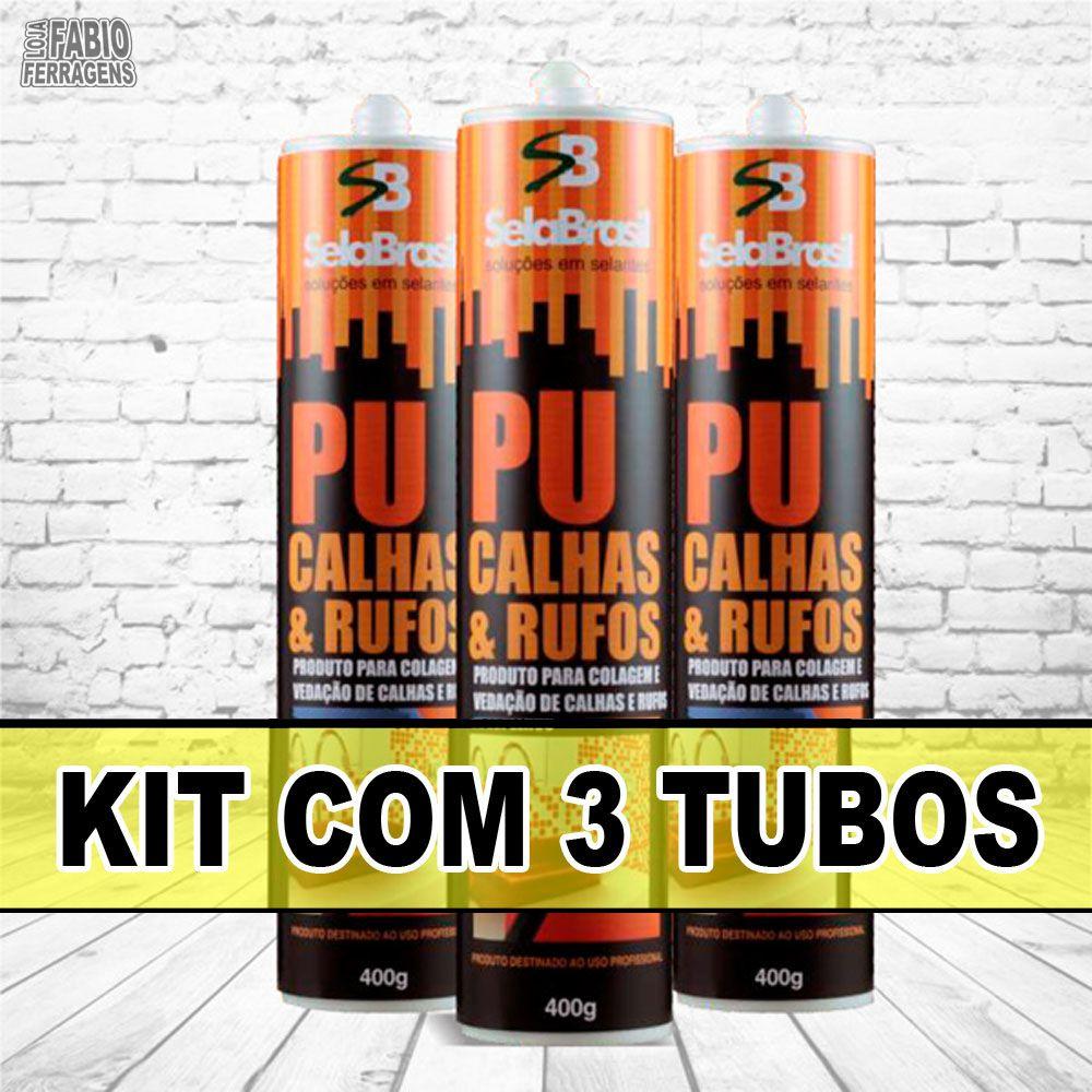 Kit com 3 Peças - Cola Selante Cinza Veda Calhas Rufos Telhas De 400 Gramas