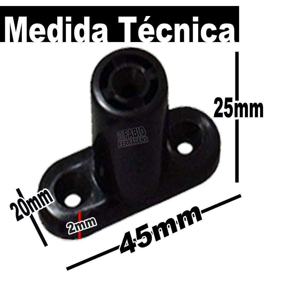 Kit Com 4 Peças - Distanciador Oco Preto Para Corrediça De 25mm