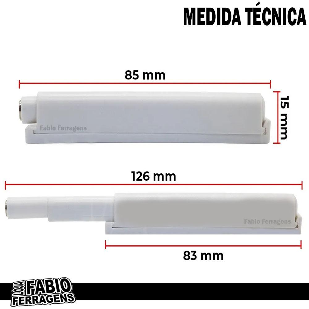 Fecho Pulsador Branco Magnético Para Móveis - 6 Peças
