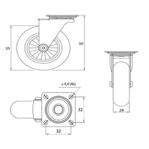 Kit De Rodizio Silicone / Gel Para Moveis De 35mm (2 Com freio / 2 Sem Freio)