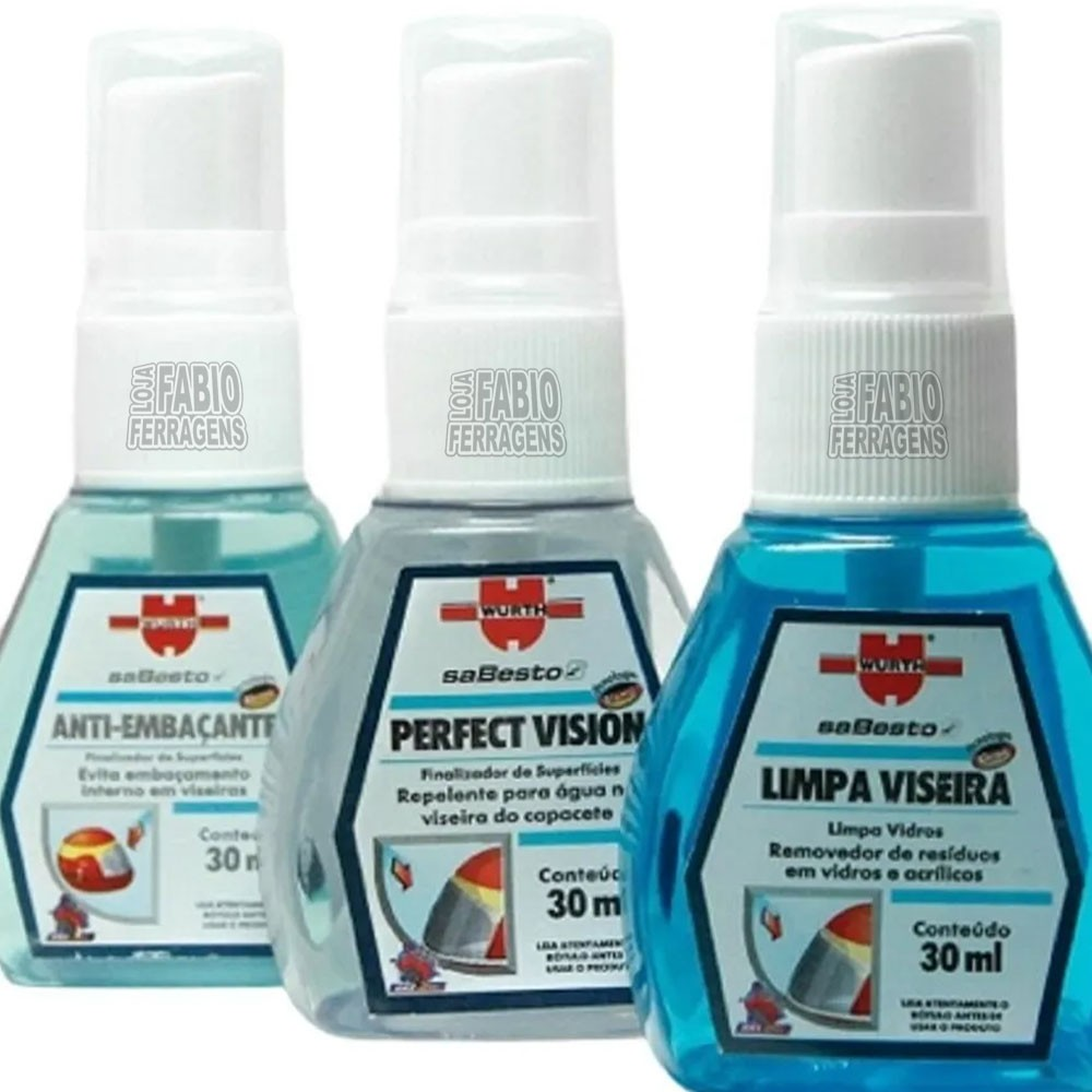 Kit Limpa Viseira Anti Embaçante Repelente Agua Wurth 30ml