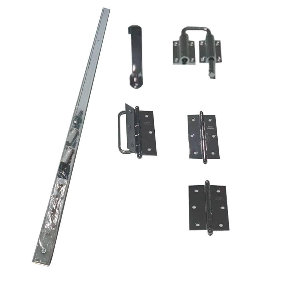 Kit Trilho Para Porta Camarão Completo (trilho, puxador, fecho e dobradiça) Cromado