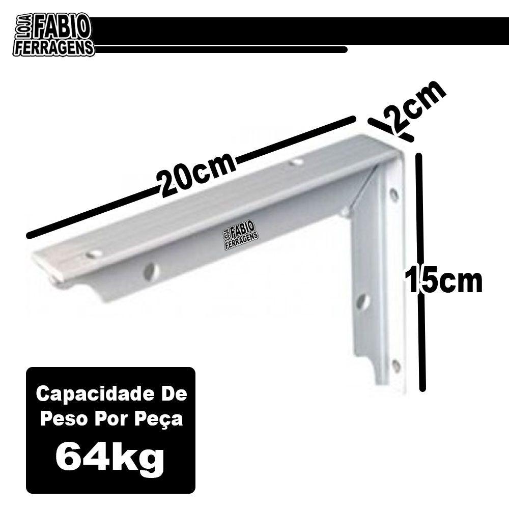 Suporte Mão Francesa De 20cm Reforçada Para 128kg Branca - 2 Peças