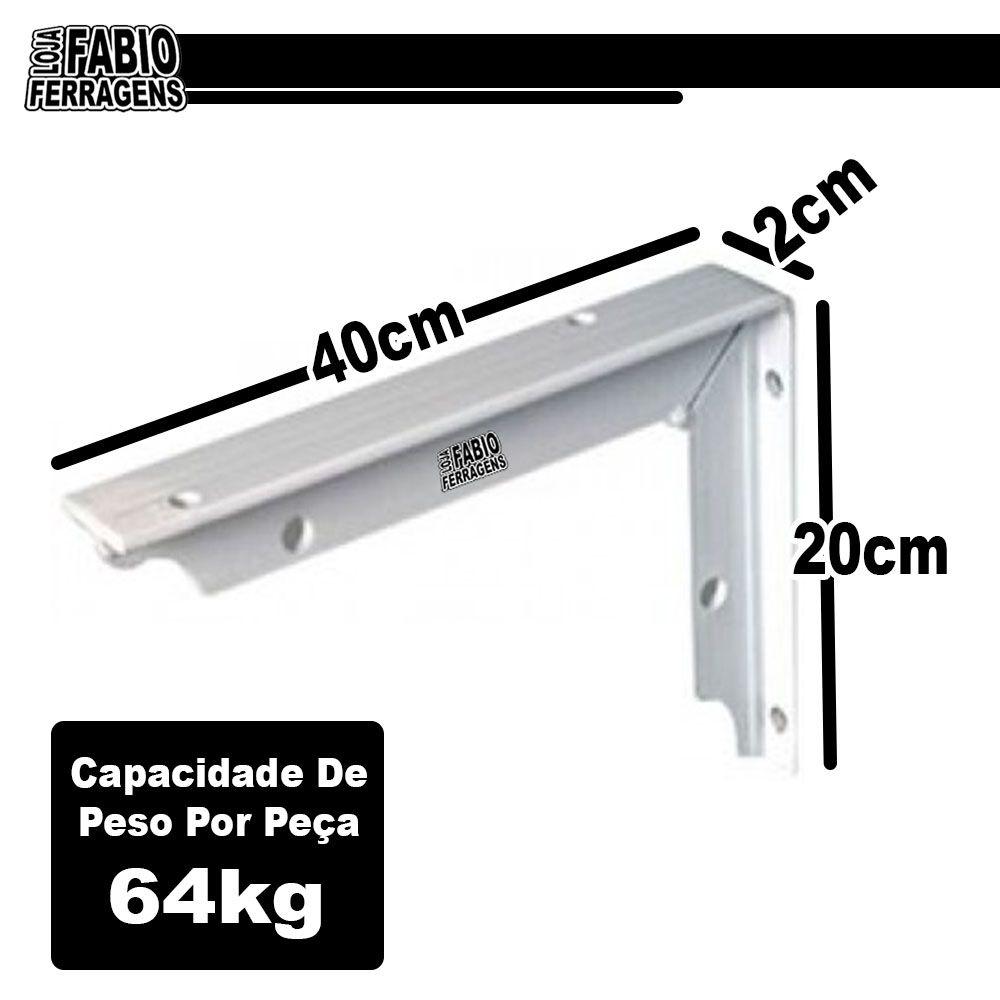 Suporte Mão Francesa De 40cm Reforçada Para 128kg Branca - 2 Peças