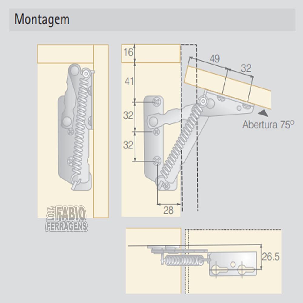 Par De Articulador Porta De Armario Lift Junior Zincado 75º Com Mola
