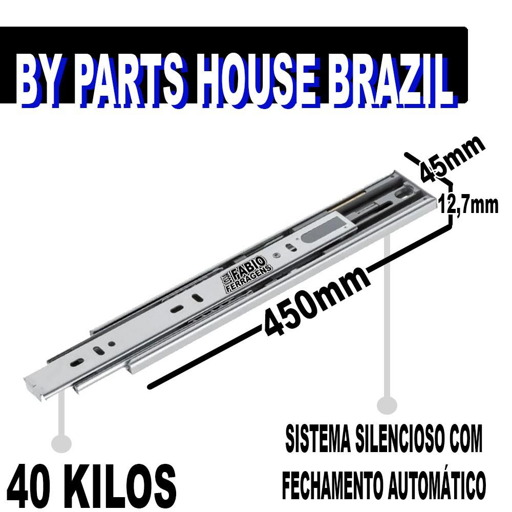 Par De Corrediça Para Gaveta Telescopia Reforçada Com Amortecedor De 45cm