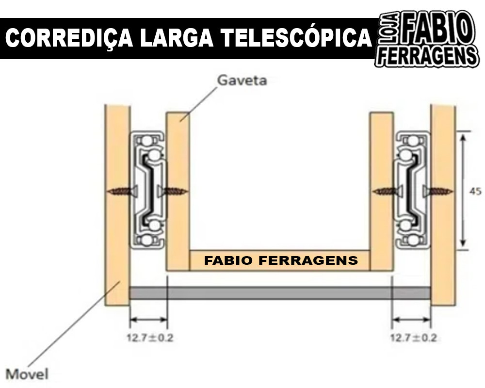 Par De Corrediça Para Gaveta Telescopia Steel Reforçada (larga) De 35cm