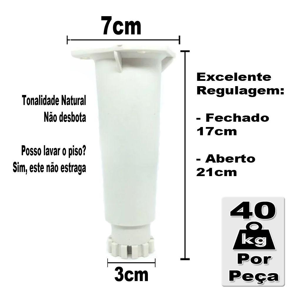 Kit 4 Peças - Pé Branco Para Armário Itatiaia Genérico De 17 a 21 cm