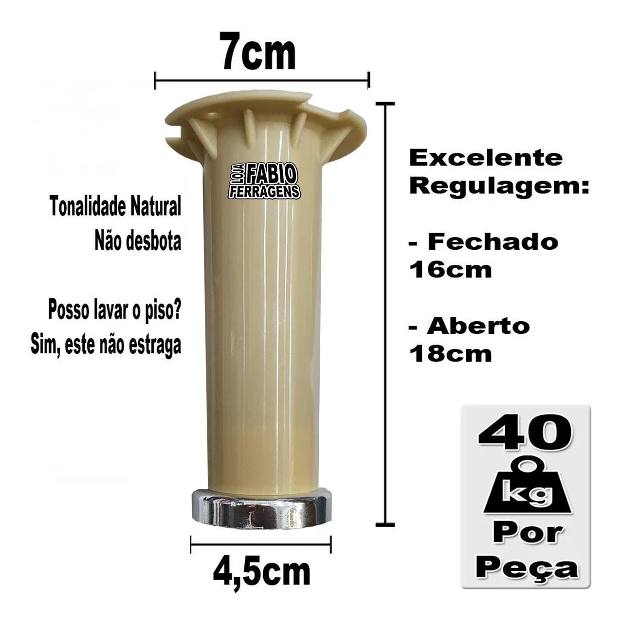 Pé Marfim Para Móveis Para Móveis Aço Itatiaia De 16 a 18cm