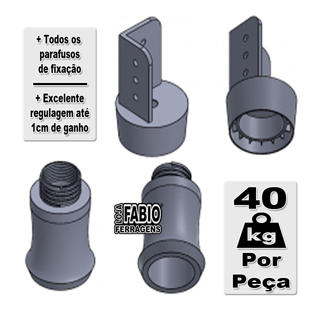 Kit 4 Peças - Pé De 9,5cm Para Guarda Roupa Reforçado Preto