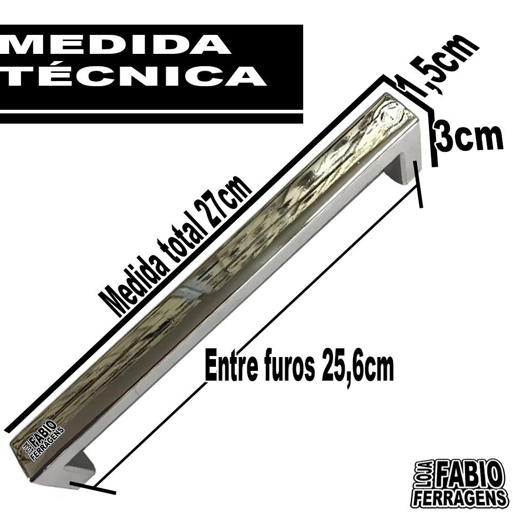 Puxador Alça Cromada F1 Plastico De 256mm - 10 Peças