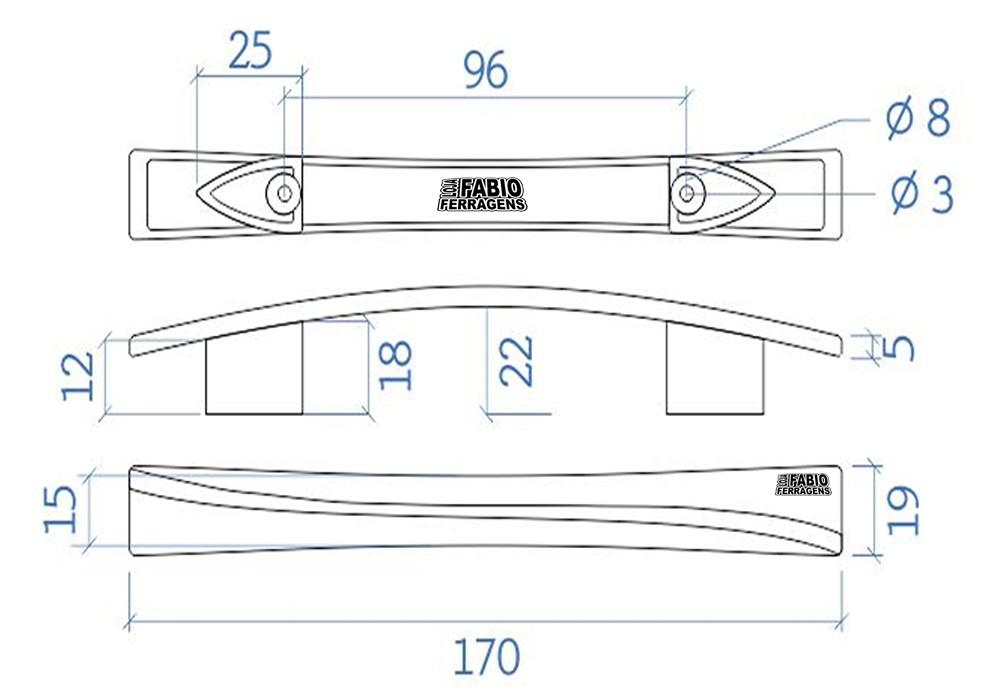 Puxador Alça Cromada F2 Plastico De 96mm - 10 Peças
