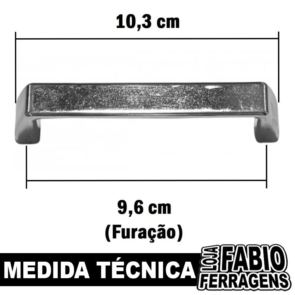 Puxador Para Móveis De Arquivo De 96mm Cromado - 10 Peças