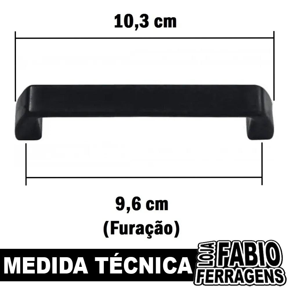 Puxador Para Móveis De Arquivo De 96mm Preto - 10 Peças