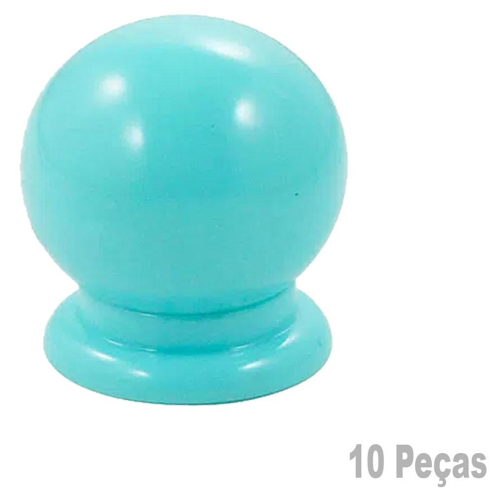 Puxador Plastico Para Moveis Bola Grande Azul - 10 Peças
