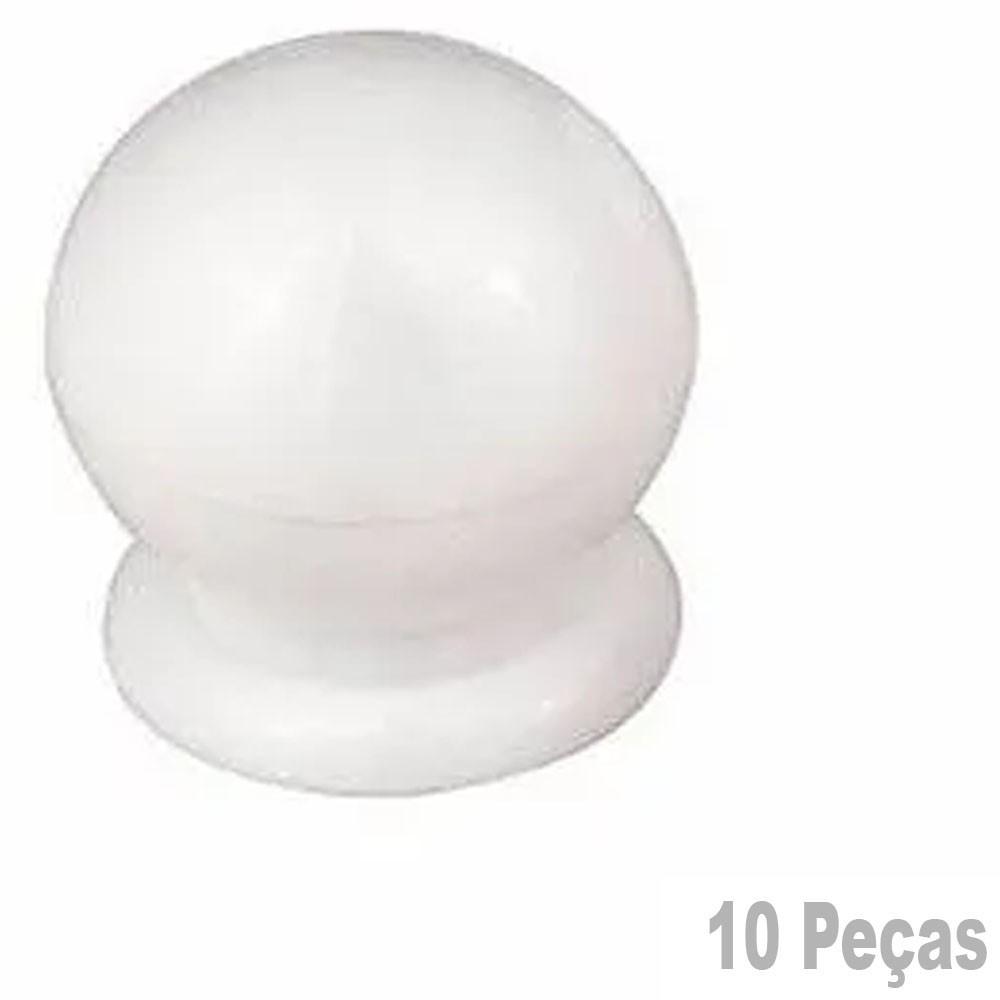 Puxador Plastico Para Moveis Bola Grande Branca - 10 Peças