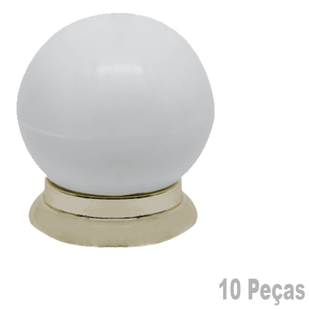 Puxador Plastico Para Moveis Bola Grande Branca Com Dourado - 10 Peças