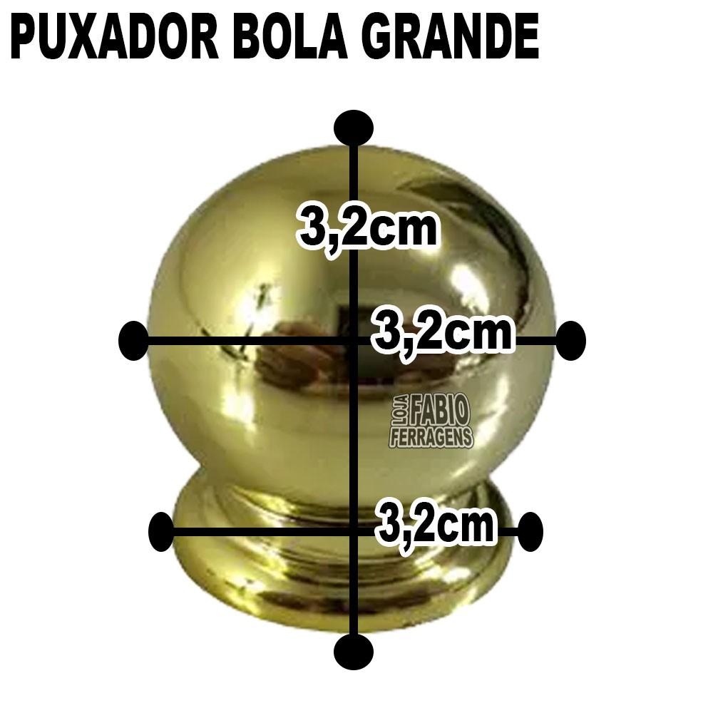 Puxador Plastico Para Moveis Bola Grande Dourado - 10 Peças