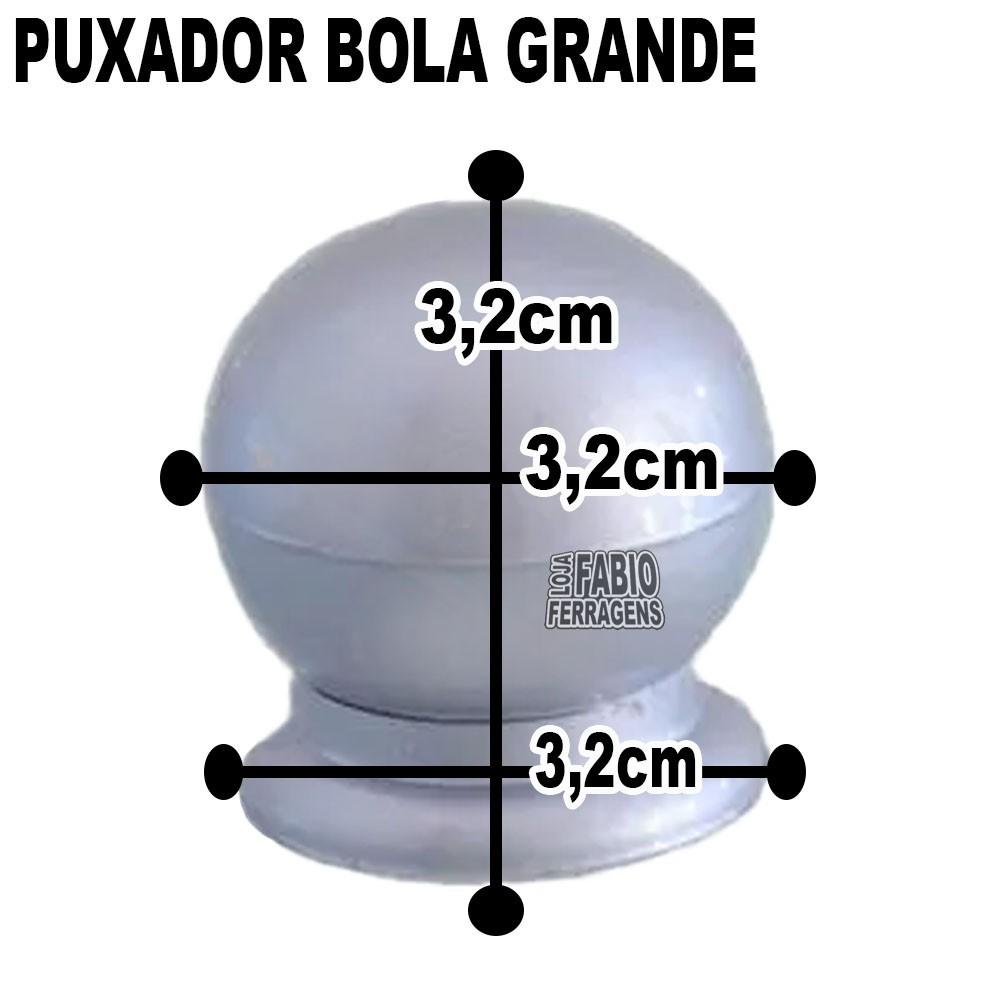 Puxador Plastico Para Moveis Bola Grande Prata Fosco - 10 Peças