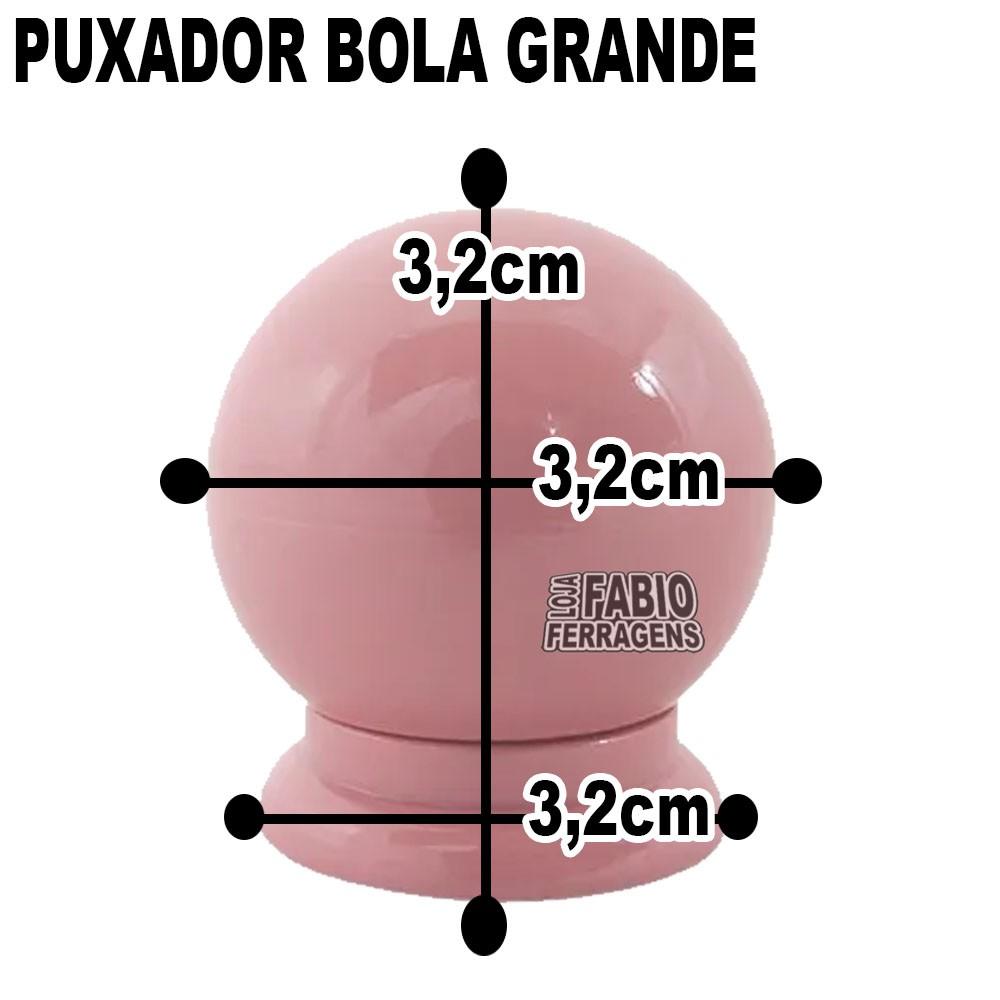 Puxador Plastico Para Moveis Bola Grande Rosa - 10 Peças