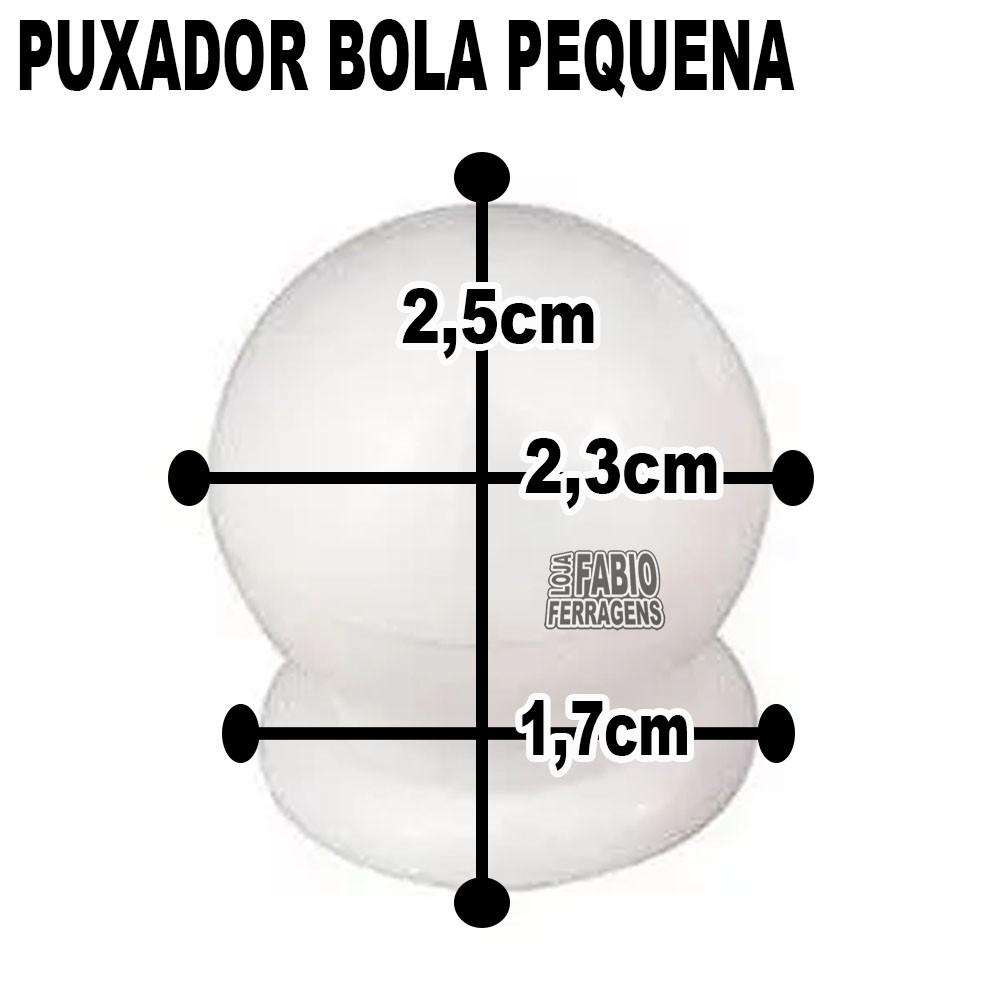 Puxador Plastico Para Moveis Bola Pequena Branca - 10 Peças