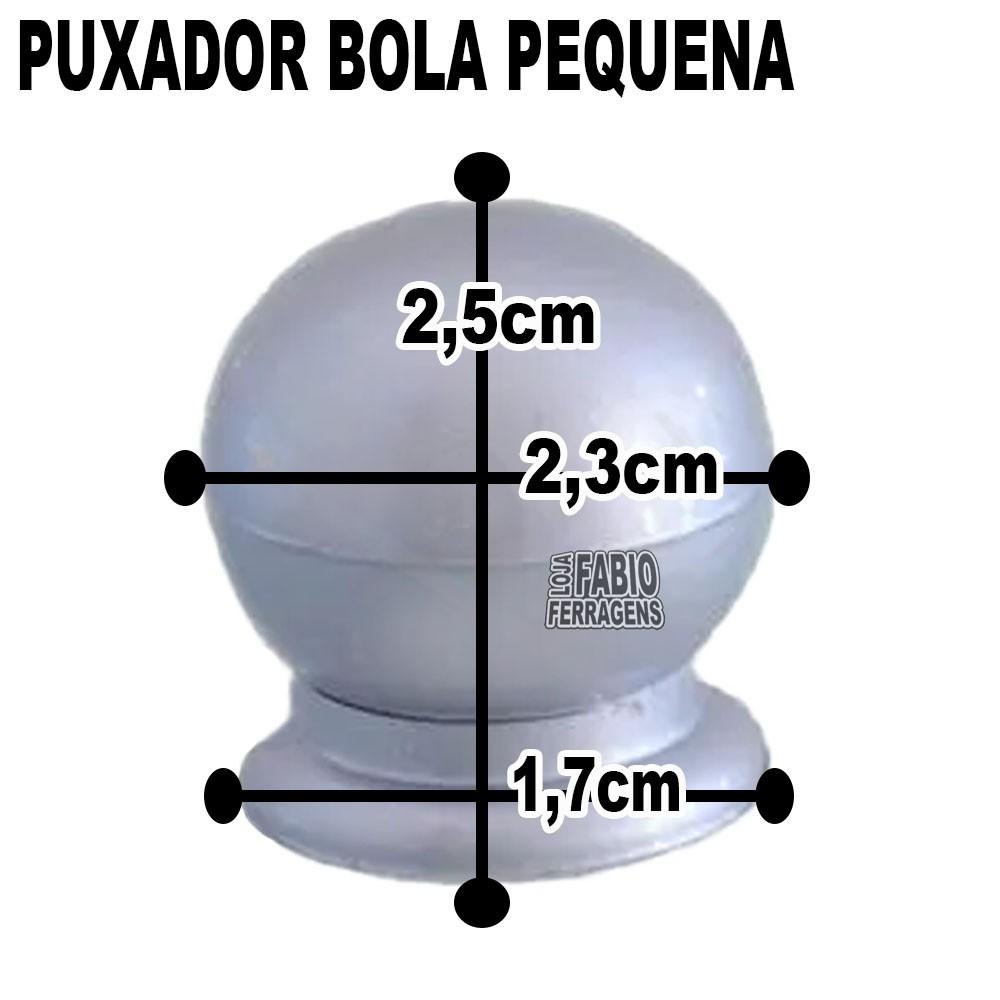 Puxador Plastico Para Moveis Bola Pequena Prata Fosca - 10 Peças