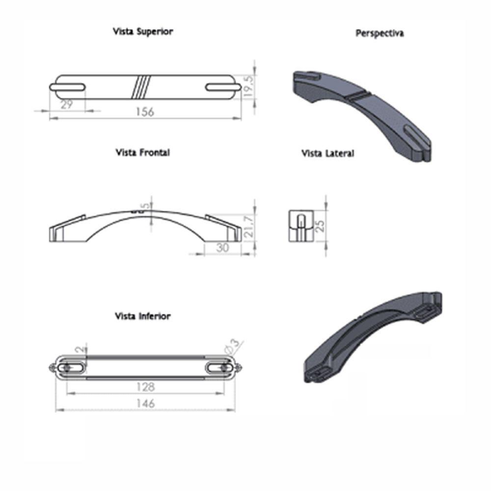 Puxador Vênus Para Móveis De 128 mm Com Parafuso De Fixação