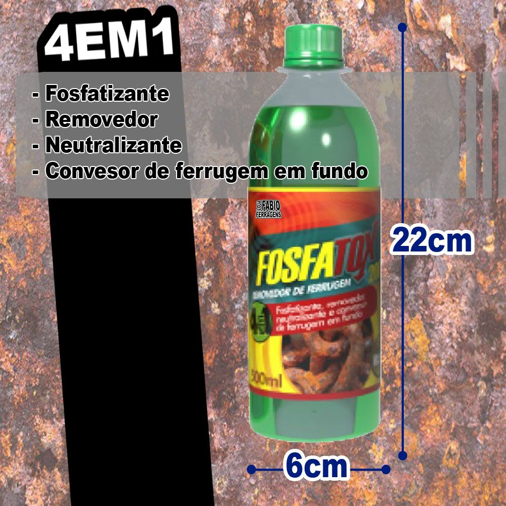REMOVEDOR DE FERRUGEM FOSFATOX 2000 DE 500ML