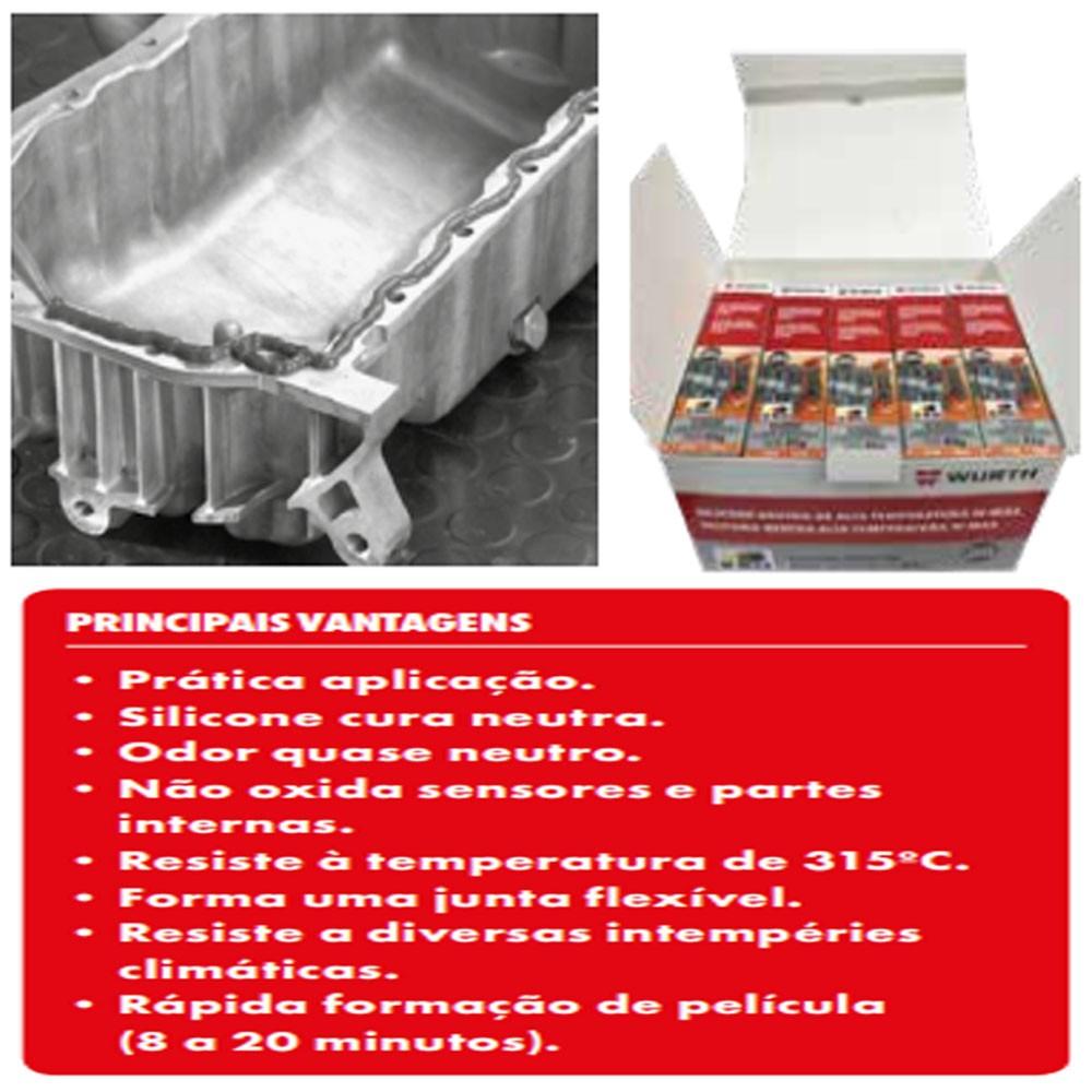 Silicone Neutro De Alta Temperatura Preto W-max 60g (Ideal Para Carro)