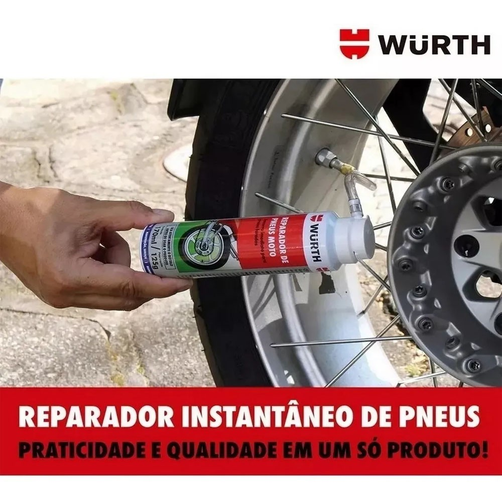 Spray Enche E Tapa Furo Reparador De Pneus Moto Wurth 170ml