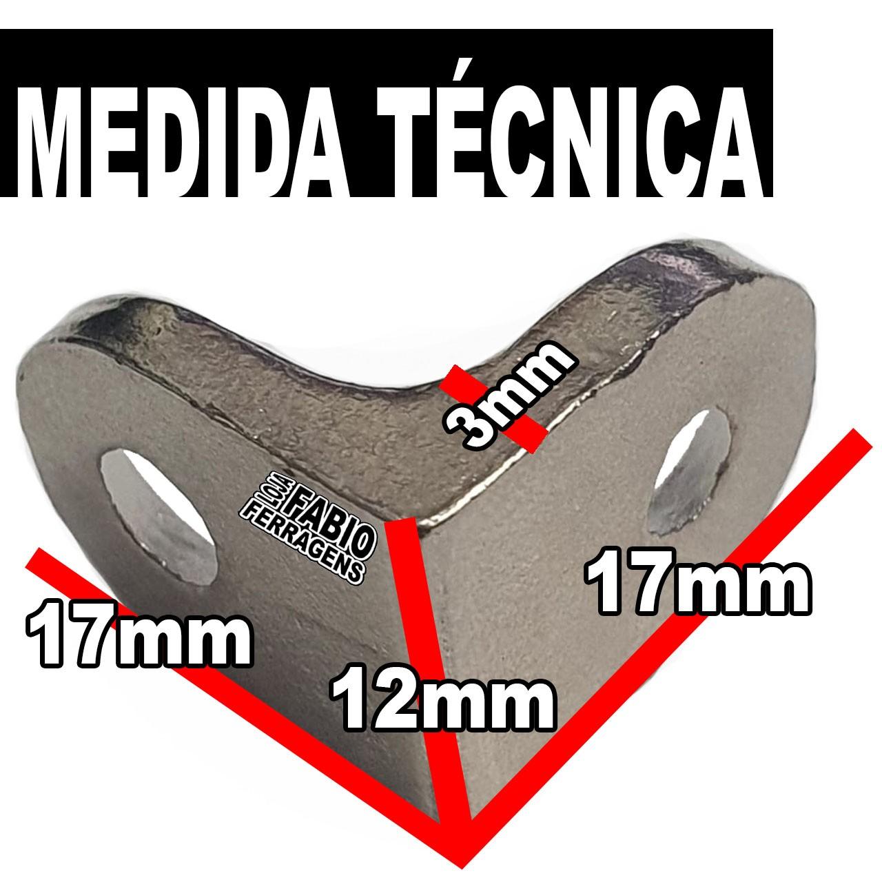 Cantoneira Para Moveis Reforçada Maciça Niquelada 17x17mm - Pacote Com 100 Peças