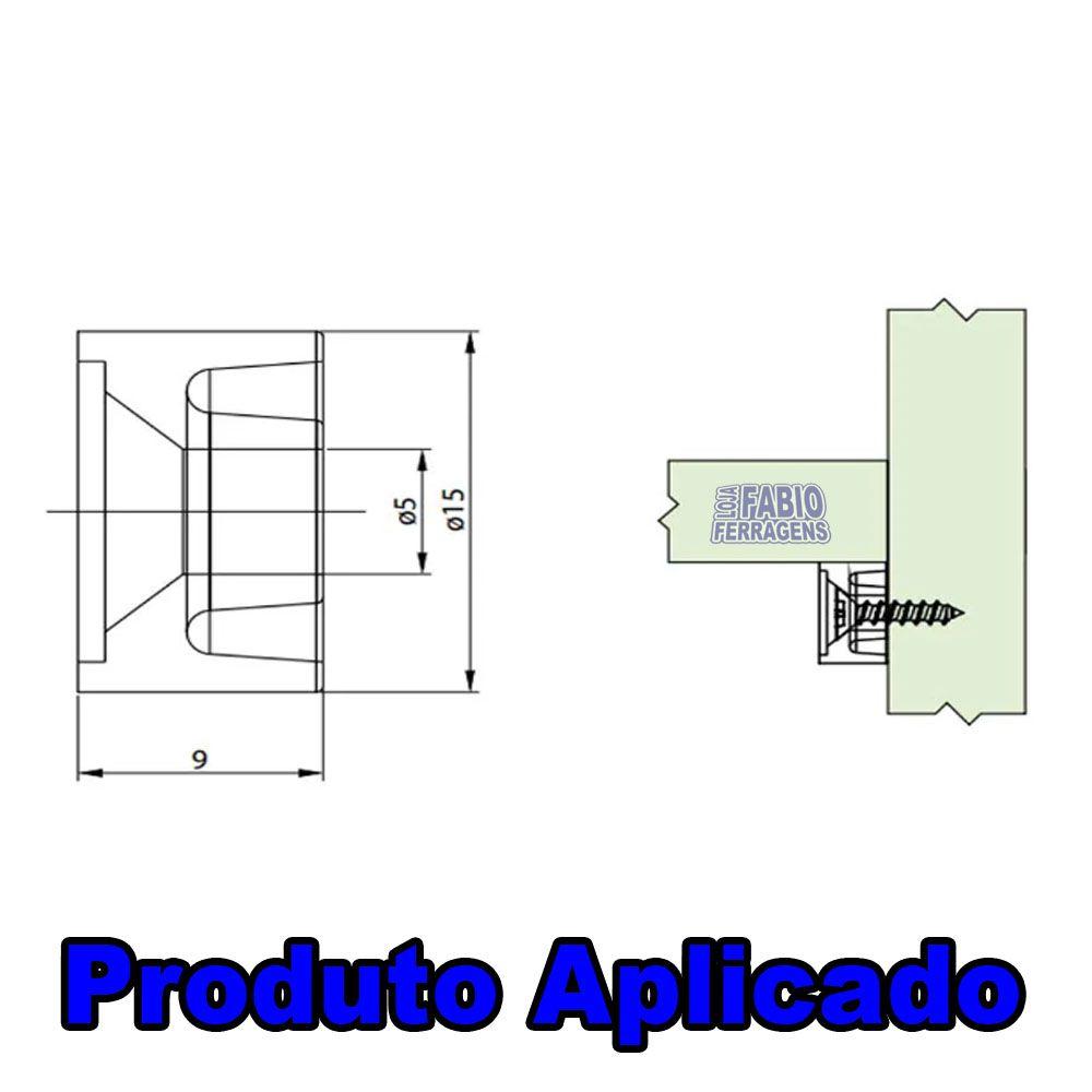 Suporte Prateleira Para Móveis 10x15 Redondo Mogno (Marrom) - 100 Peças