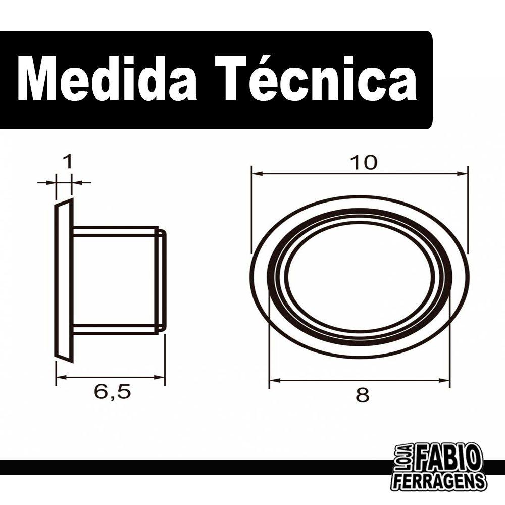 Tapa Furo Plástico Branco De 8mm Para Móveis - 100 Peças