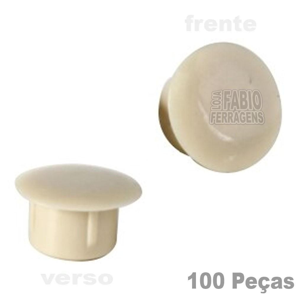 Tapa Furo Plástico Marfim De 8mm Para Móveis - 100 Peças