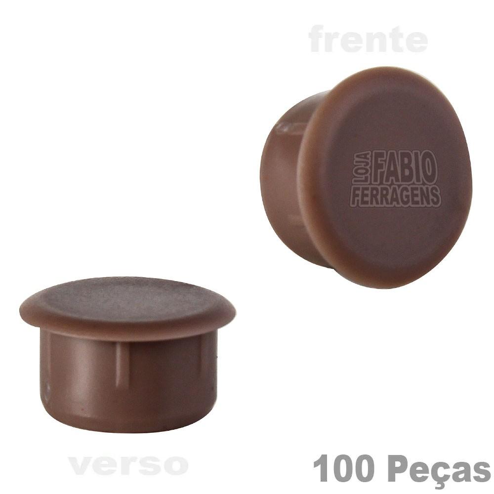 Tapa Furo Plástico Mogno De 8mm Para Móveis - 100 Peças
