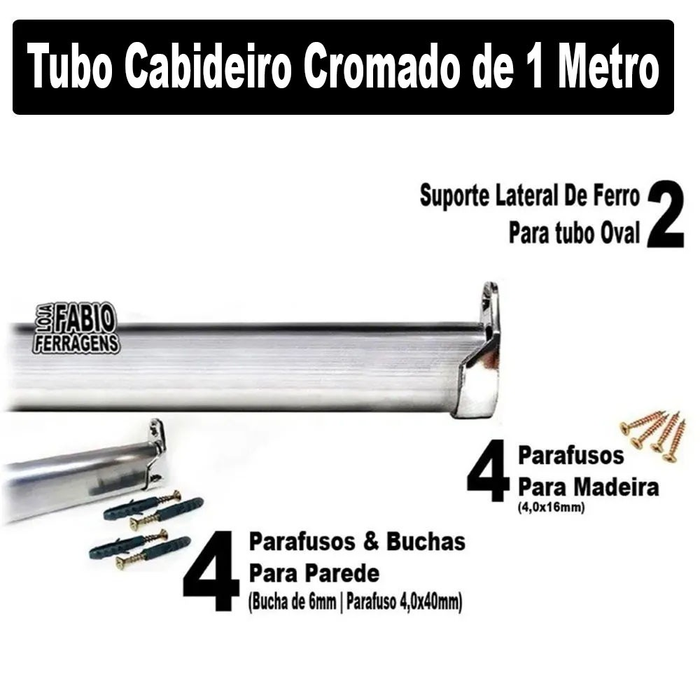Tubo Cabideiro Completo Para Guarda Roupa Com 1 metro