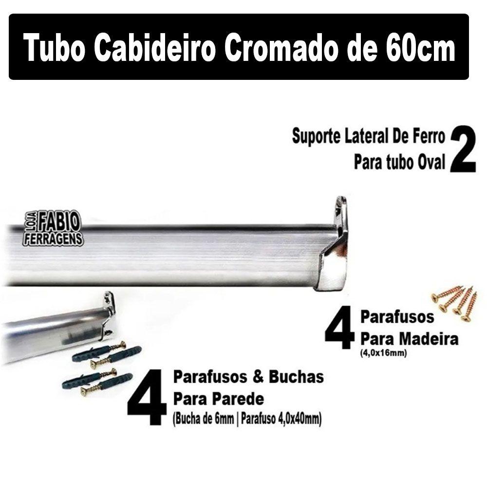 Tubo Cabideiro Completo Para Guarda Roupa Com 60cm