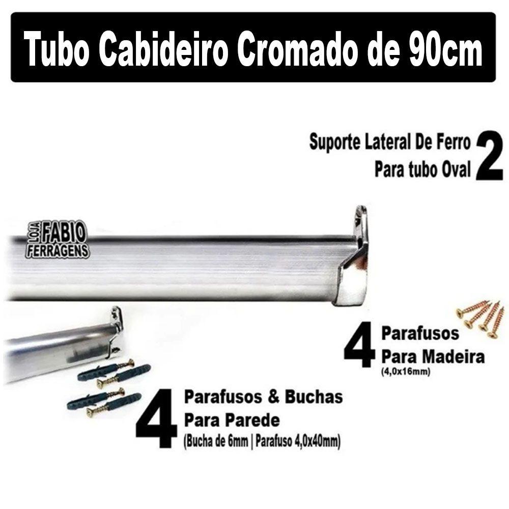 Tubo Cabideiro Completo Para Guarda Roupa Com 90cm