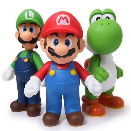Kit Nintendo Super Mario Luigi E Yoshi 3 Peças Articulados