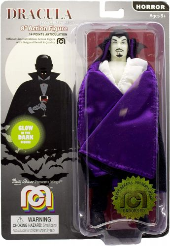 Mego Action Figure Dracula c/ Capa Roxa Brilha no Escuro 20cm Oficial Licenciado