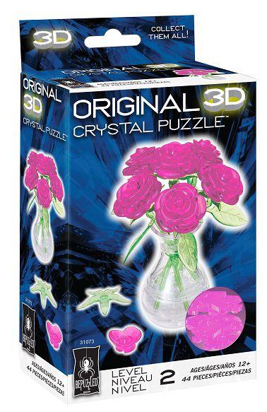 Bepuzzled Original 3D Crystal Quebra Cabeça Rosas Rosa no Vaso
