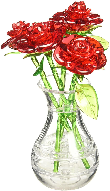 Bepuzzled Original 3D Crystal Quebra Cabeça Rosas Vermelhas no Vaso