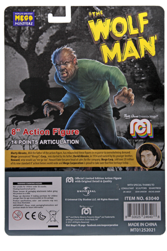 Mego Action Figure The Wolfman Oficial Licenciado