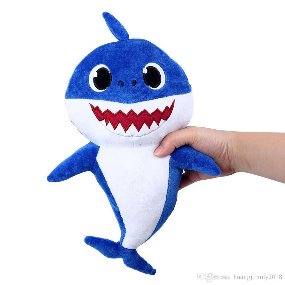Pelúcia Baby Shark Daddy Shark Tubarão Azul
