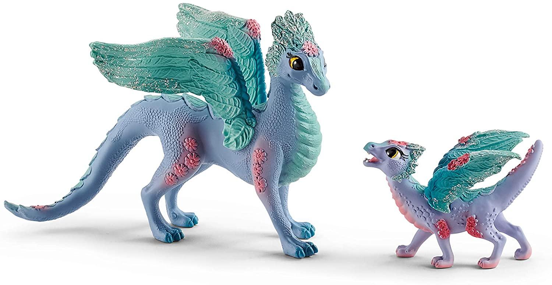 SCHLEICH bayala Flower Dragon Mama and Baby Dragon Sparkly Oficial